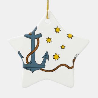 Ornamento De Cerâmica Âncora com corda e o desenho do sul da estrela