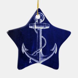 Ornamento De Cerâmica âncora náutica chique litoral dos azuis marinhos