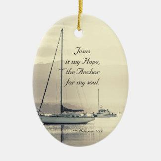 Ornamento De Cerâmica Âncora para minha alma, veleiros de Jesus do 6:19