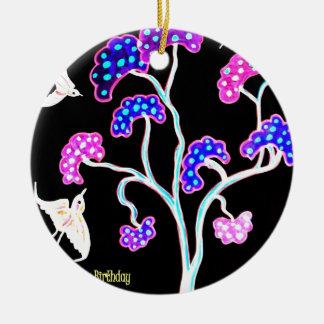 Ornamento De Cerâmica Andorinha-e-fruta-árvore-Feliz-Aniversário