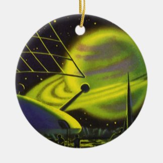 Ornamento De Cerâmica Anéis verdes de néon de w do planeta da ficção