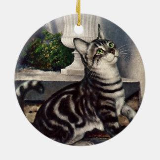 Ornamento De Cerâmica Animais do vintage, gato de gato malhado bonito e