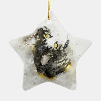 Ornamento De Cerâmica Arte bonito da aguarela do gato de gato malhado