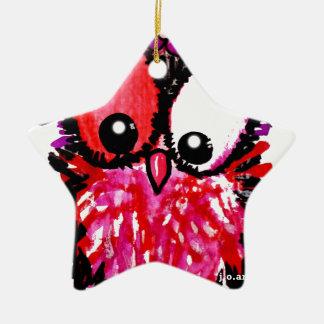 Ornamento De Cerâmica Arte cor-de-rosa da coruja do bebê
