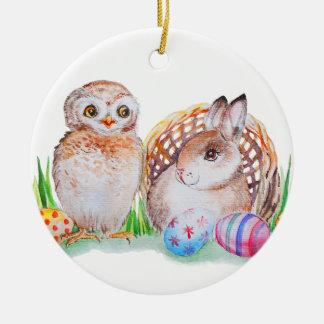 Ornamento De Cerâmica Arte da coruja e da páscoa do coelho