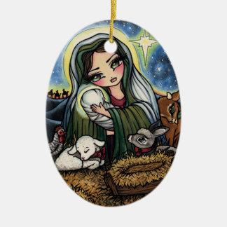 Ornamento De Cerâmica Arte de Jesus Mary do Natal da natividade por