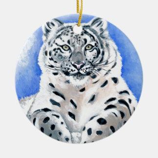 Ornamento De Cerâmica Arte do leopardo de neve
