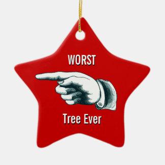 """Ornamento De Cerâmica """"Árvore a mais má engraçada nunca """""""