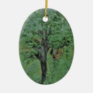 Ornamento De Cerâmica Árvore da faca de paleta na madeira