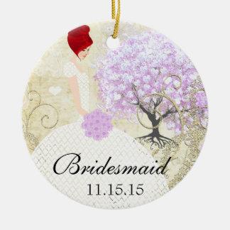 Ornamento De Cerâmica Árvore da folha do coração da lavanda dos