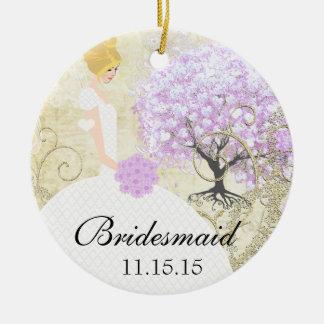 Ornamento De Cerâmica Árvore loura da folha do coração da lavanda dos