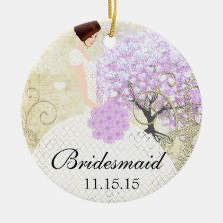 Ornamento De Cerâmica Árvore triguenha da folha do coração da lavanda