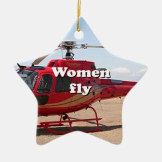 Ornamento De Cerâmica As mulheres voam: helicóptero vermelho
