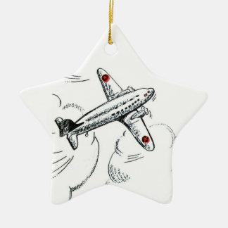 Ornamento De Cerâmica Aviação antiquado do desenho do avião  
