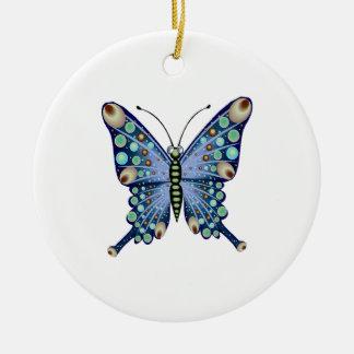 Ornamento De Cerâmica Azul Pastel gráfico borboleta manchada