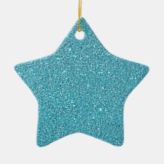 Ornamento De Cerâmica Azul Sparkly Bling do Aqua do brilho