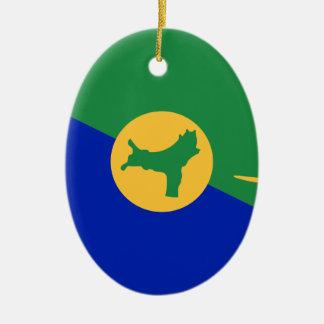 Ornamento De Cerâmica Baixo custo! Bandeira da ilha christmas