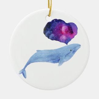 Ornamento De Cerâmica Baleia da aguarela