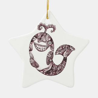Ornamento De Cerâmica Baleia feliz