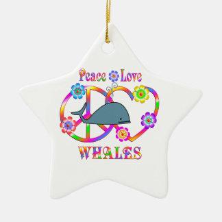 Ornamento De Cerâmica Baleias do amor da paz