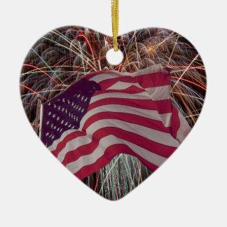 Ornamento De Cerâmica Bandeira americana e fogos-de-artifício