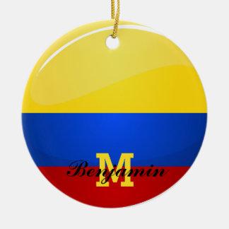 Ornamento De Cerâmica Bandeira Columbian redonda lustrosa