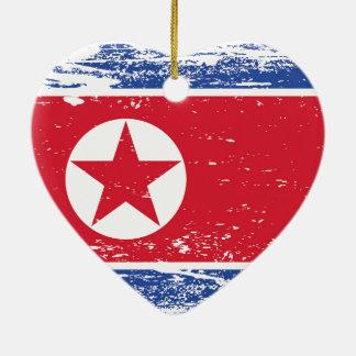 Ornamento De Cerâmica Bandeira da Coreia do Norte do Grunge