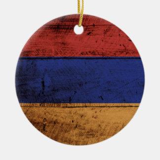Ornamento De Cerâmica Bandeira de Arménia na grão de madeira velha