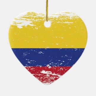 Ornamento De Cerâmica Bandeira de Colômbia do Grunge