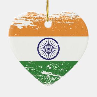 Ornamento De Cerâmica Bandeira de India do Grunge