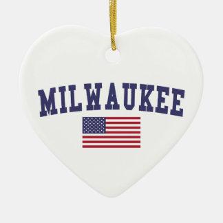 Ornamento De Cerâmica Bandeira de Milwaukee E.U.