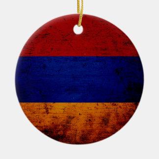 Ornamento De Cerâmica Bandeira preta de Arménia do Grunge