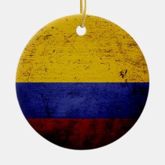 Ornamento De Cerâmica Bandeira preta de Colômbia do Grunge