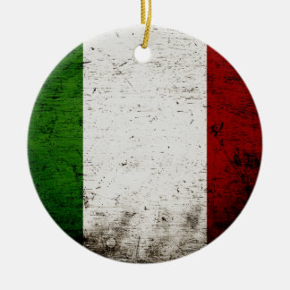 Ornamento De Cerâmica Bandeira preta de Italia do Grunge