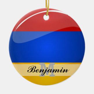 Ornamento De Cerâmica Bandeira redonda lustrosa de Arménia