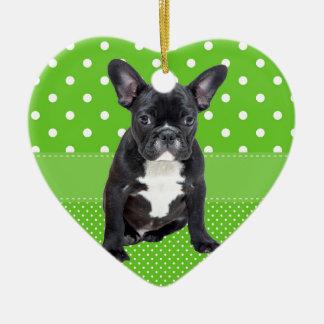 Ornamento De Cerâmica Bolinhas bonitos do verde do filhote de cachorro