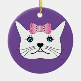 Ornamento De Cerâmica Bonito-Menina-Gato-com-Cor-de-rosa-Arco