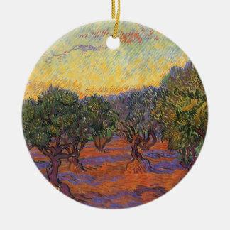 Ornamento De Cerâmica Bosque verde-oliva, céu alaranjado por Vincent van