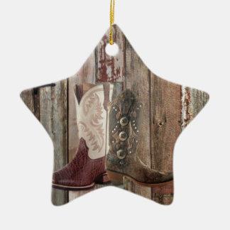 Ornamento De Cerâmica Bota de vaqueiro ocidental do país de madeira