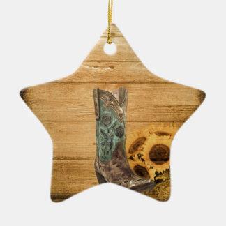 Ornamento De Cerâmica Bota de vaqueiro resistida do girassol do país