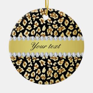 Ornamento De Cerâmica Brilho do ouro do falso do leopardo e preto da