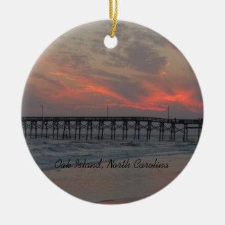 Ornamento De Cerâmica Cais e por do sol - ilha do carvalho, NC