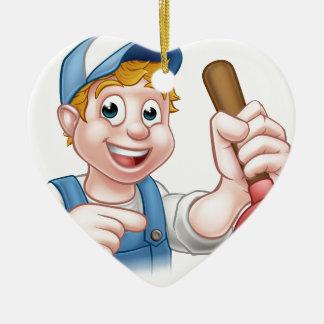 Ornamento De Cerâmica Canalizador do trabalhador manual com personagem