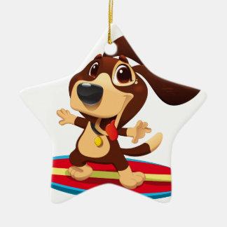 Ornamento De Cerâmica Cão engraçado bonito em uma ilustração da prancha