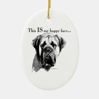 Ornamento De Cerâmica Cara feliz do Mastiff