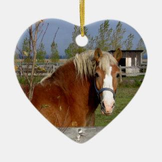 Ornamento De Cerâmica Caramelo e cavalo bege que olham a câmera-Aff