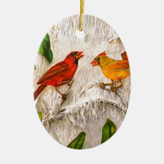 Ornamento De Cerâmica Cardeais do Natal. Canto do amor