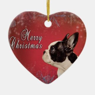 Ornamento De Cerâmica Cartão de Natal de Frenchie