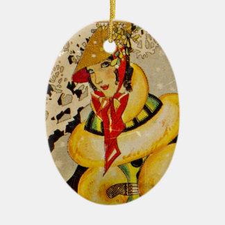 Ornamento De Cerâmica Cartões de natal do art deco