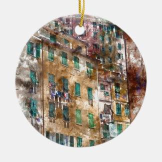 Ornamento De Cerâmica Casas coloridas em Cinque Terre Italia